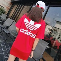 adidas women casual fashion letter logo print short sleeve t shirt dress