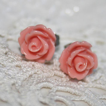 Peach Rose Ear studs, Pastel blossom Post Earrings, Peach Rose Studs, Gift to Girlfriend Daughter Sister