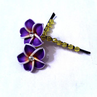 Purple and yellow polymer clay flowers wire wrapped Bobby pins