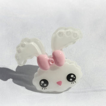 HUGE pink bow white bunny ring by DeathwishDesign on Etsy