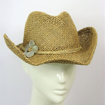 Straw Raffia BoHo Chic Cowgirl Hat - Mother of Pearl Flower S/M