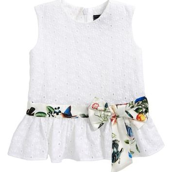 Oscar de la Renta Small Flower Eyelet Peplum Dress (Toddler Girls, Little Girls & Big Girls) | Nordstrom