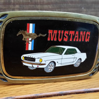 Vintage Solid Brass Ford Mustang Belt Buckle Aminco Heritage Buckles Great Retro Accessory