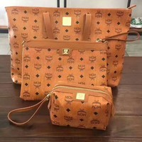 MCM Three-Piece Women Leather Luggage Travel Bag Tote Satchel Handbag H-A-GHSY-1