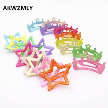 New Fashion 6Pcs Hair Clips Crown Star Hair Accessories Resin Shiny Kids Headdress Candy Color Handmade Hairpins for Girls