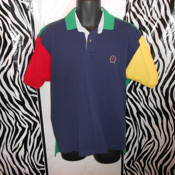 Vintage 90s Tommy Hilfiger Primary Colorblock Short Sleeve Polo Shirt Sz M