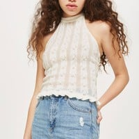 Off White Frill Hem Halter Neck Top - New In Fashion - New In