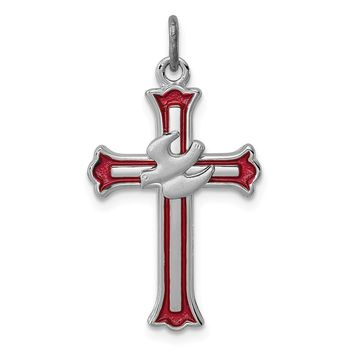 925 Sterling Silver Rhodium-Plated Enameled Cross with Dove Charm and Pendant