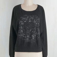 Eco-Friendly Short Length Long Sleeve Zodiac Zing Top by ModCloth