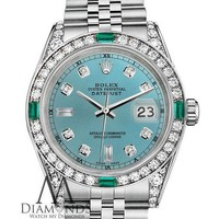 Rolex 31mm Datejust Ice Blue 8+2 Dial with Custom Emerald & Diamond Ladies Watch
