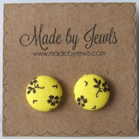 Fabric Button Earrings - Sunny Blooms - Buy 3, get the 4th FREE