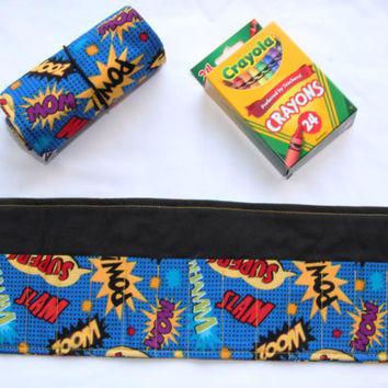 Crayon Roll SuperHero, Crayon Holder, Comic Book Sayings, Pow, Zoom, Birthday Party Favor, 16 Crayola Crayons Included