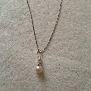 Sterling Silver Single Pearl Necklace Pendant - Wire Wrapped - Freshwater - Peach - Pink - Cream