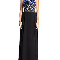 Parker - Parker Black Bead-Top Halter Gown - Saks Fifth Avenue Mobile
