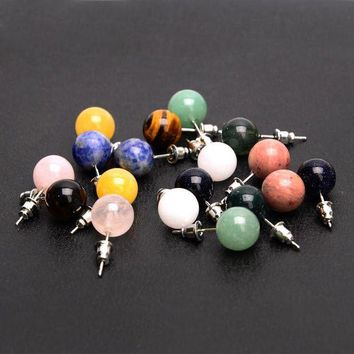 CREYIJ6 New Arrival Candy Color Round Beads Natural Stone Stud Earrings For Women Brincos Accessories Gifts Fine Jewelry