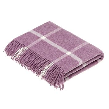 Merino Lambswool Lilac Windowpane Throw Blanket