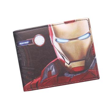 Avengers Iron Man Wallet Super Hero Purses Leather Small Anime Men Wallet Bag Credit ID Card Holder Red Wallet For Boys Girls
