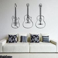 ik797 Wall Decal electric bass guitar star music song artist notes chords rock