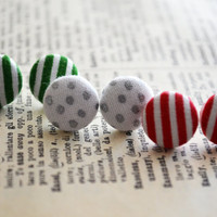 Fabric Button Earrings, Polka Dots, Holiday Button Earrings, Christmas Gift, Striepd Theme, Party Favors, Birthday Gift, Hipster Trendy Chic