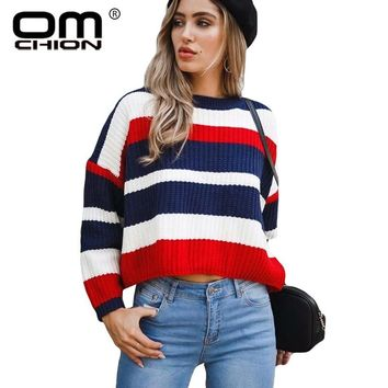 OMCHION Pull Femme 2018 Winter Korean Harajuku Women Sweaters And Pullovers Casual Striped Loose Jumper Knit Sweater LMM200