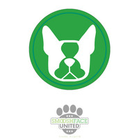 Boston Terrier decal - dog car window vinyl, Boston silhouette,#bostonlove, two tone green circle sticker - Smooshface United
