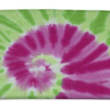 Bath Mat, Colorful Tie Dye Fabric With Spiral Circle Pattern