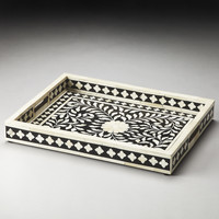 Hors D'Oeuvres Vivienne Black Bone Inlay Serving Tray