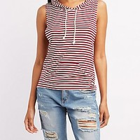 STRIPED SLEEVELESS HOODIE
