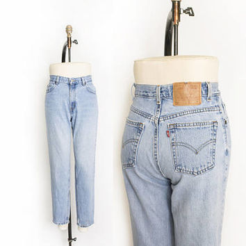 "Vintage Levi's 550 JEANS - Cotton Denim Tapered Leg High Waist Mom Jeans 1990s - 27"" x 29"" Small"