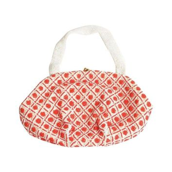 Pre-owned Saks Fifth Ave Vintage Red & White Beaded Purse