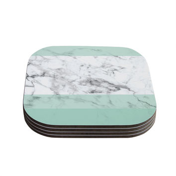 "KESS Original ""Mint Marble Fade"" White Green Coasters (Set of 4)"