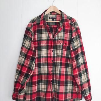 Ralph Lauren Flannel Shirt, Plaid Shirt, Oversized Flannel. Polo Jeans Shirt. Red Boyf