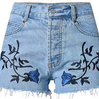Blue Flower High Waist Shorts, All Sizes
