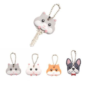 ONETOW Lychee  Cute Mouse French Bulldog Shape PVC Key Cover Cap Key Chain Rubber Key Ring