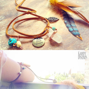 Feather Upper Armlet. Bohemian Armlet Boho Arm band. Mineral Titanium Ethnic Arm bracelet. Live Ur Dream Tribal Skull Upper Arm Body Jewelry