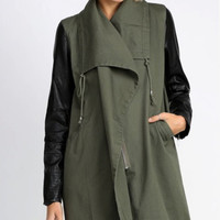 Class Act Leather Sleeve Anorak Utility Jacket