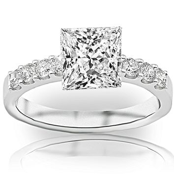 CERTIFIED | 1 Carat Princess Cut Classic Prong Set Diamond Engagement Ring (D-E Color, SI1-SI2 Clarity) (White)