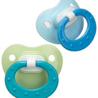 NUK Silicone Orthodontic Pacifiers, 0-6m, 3pk Blue/Green