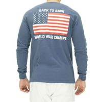Back to Back World War Champs Long Sleeve Pocket Tee in Navy by Full Time American