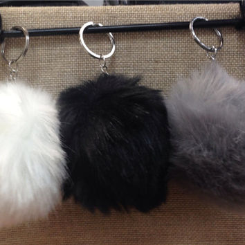 Pom pom faux fur keychains bag accessories gifts
