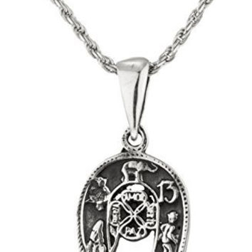 """925 Sterling Silver 'Good Luck"""" Horseshoe Pendant with an 18 Inch Rope Necklace"""