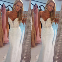 Spaghetti Straps Sparkly White Prom Dresses,Prom Dress