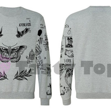 Harry Styles Tattoo Sweater in gray  Jumper  Top Sweatshirt 1D  One Direction Shirt