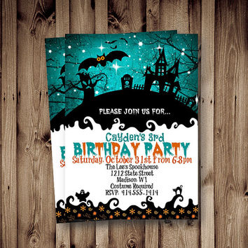 Halloween birthday Invitation kids boy girl whimsical Halloween haunted house printable blue Halloween Holiday invite 5x7 download invites