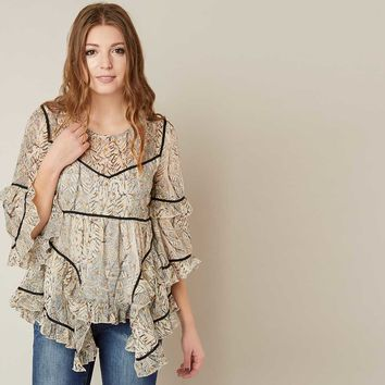 MISS ME RUFFLE PRINTED TOP