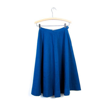 Pendleton Full Circle Skirt 50s Wool POODLE Skirt High Waist Turquoise Blue Preppy Midi Length Mod 1950s Extra Small XS Louanne's Vintage