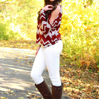 Cold Shoulder Chevron Top - Rust