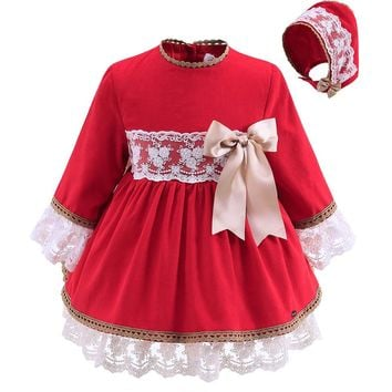 Pettigirl Lastest Red Toddler Girl Dress With Hats Handmade Bow Lace Cotton Autumn Infant Girls Bontique Clothing G-DMGD908-889