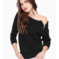 Women Fashion sexy Zipper Hoodies T shirts black