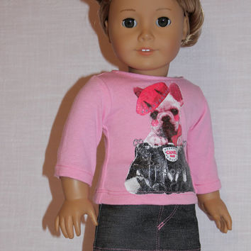 18 inch doll clothes, pink graphic print shirt  and faded black denim mini skirt, american girl, maplelea